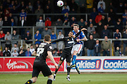 Carlisle United Defender Michael Raynes jumped the highest during the Sky Bet League 2 match between Carlisle United and Mansfield Town at Brunton Park, Carlisle, England on 9 April 2016. Photo by Craig McAllister.