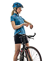 one caucasian cyclist woman cycling riding bicycle time watch isolated on white background