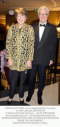 LORD & LADY HURD  at an awards dinner in London on 28th January 2003.PGS 90