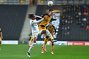 Milton Keynes Dons midfielder David Kasumu (29) battles for possession with Port Vale midfielder (on loan from Nottingham Forest) Jake Taylor (16)  during the The FA Cup match between Milton Keynes Dons and Port Vale at stadium:mk, Milton Keynes, England on 9 November 2019.