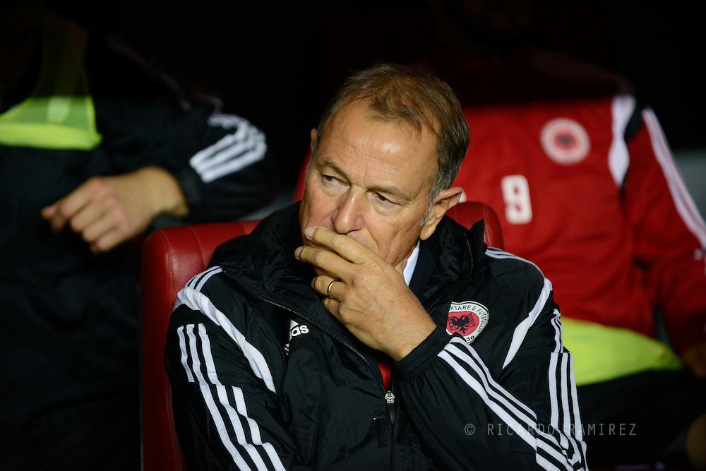 04.09.2015. Copenhagen, Denmark. <br /> Albania coach Giovanni de Blasi before the match against Denmark at Parken Stadium in Copenhagen.<br /> Photo: © Ricardo Ramirez