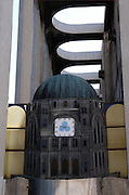 Israel, Tel Aviv, The clock with Hebrew letters at the entrance to the Tel Aviv grand synagogue Allenby street