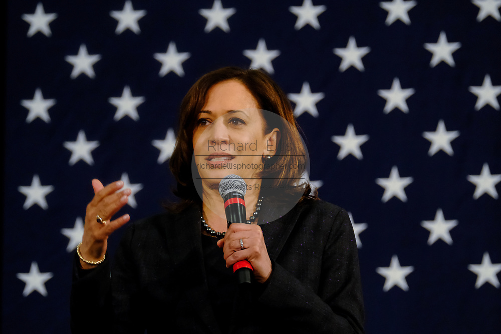 Senator Kamala Harris address a town hall event during her campaign for the Democratic presidential nomination February 15, 2019 in North Charleston, South Carolina. South Carolina is the first southern democratic primary for the presidential race.