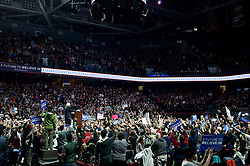 Vermont Senator and Democratic hopeful Bernie Sanders met a young crowd, estimated to be over 10,000, during an April 6, 2016 'Feel the Bern' rally, held at the Liacouras Center at Temple University in Philadelphia, PA.