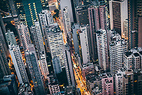 Buildings and a traffic artery in Hong Kong.