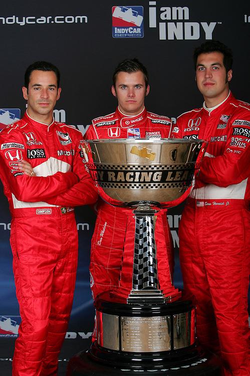 Helio Castroneves, Dan Wheldon, Sam Hornish Jr., IRL trophy shoot, Infineon Raceway, Sonoma, CA USA 8/26/08