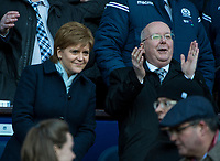 EDINBURGH, SCOTLAND - FEBRUARY 24:  Scotland's first minister, Nicola Sturgeon MSP, and her husband, Peter Murrell, are delighted as the Scots beat England by 25-13 to lift the Calcutta cup at BT Murrayfield on February 24, 2018 in Edinburgh, Scotland. (Photo by MB Media/Getty Images)