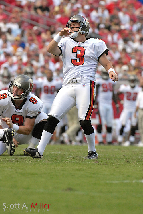 September 16, 2007; Tampa, FL, USA; Tampa Bay Buccaneers kicker Matt Bryant during his team's game against the New Orleans Saints at Raymond James Stadium. Tampa Bay won the game 31-14...©2007 Scott A. Miller