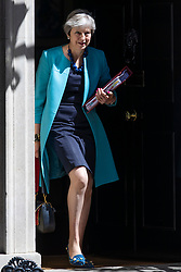 © Licensed to London News Pictures. 27/06/2018. London, UK. Prime Minister Theresa May leaves 10 Downing Street. Photo credit: Rob Pinney/LNP