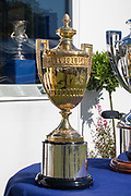 Henley on Thames, England, United Kingdom, Thursday, 04.07.19, the King's Cup, on loan to HRR from Australia, on the occasion of the Centenary, of the Peace Regatta 1919, Henley Royal Regatta,  Henley Reach, [©Karon PHILLIPS/Intersport Images]<br /> <br /> 09:38:46 1919 - 2019, Royal Henley Peace Regatta Centenary,