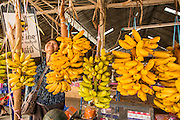 09 MARCH 2013 - ALONG HIGHWAY 13, LAOS:  A woman sets up a stall to sell bananas to motorists on Highway 13 north of Vientiane, Laos. The paving of Highway 13 from Vientiane to near the Chinese border has changed the way of life in rural Laos. Villagers near Luang Prabang used to have to take unreliable boats that took three hours round trip to get from the homes to the tourist center of Luang Prabang, now they take a 40 minute round trip bus ride. North of Luang Prabang, paving the highway has been an opportunity for China to use Laos as a transshipping point. Chinese merchandise now goes through Laos to Thailand where it's put on Thai trains and taken to the deep water port east of Bangkok. The Chinese have also expanded their economic empire into Laos. Chinese hotels and businesses are common in northern Laos and in some cities, like Oudomxay, are now up to 40% percent. As the roads are paved, more people move away from their traditional homes in the mountains of Laos and crowd the side of the road living off tourists' and truck drivers.    PHOTO BY JACK KURTZ