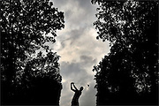 Martin Kaymer hits his tee shot on the fifth hole during the Sunday round of the 2016 PGA Championship golf tournament held at Baltusrol Golf Club Lower Course in Springfield, New Jersey on July 31, 2016.