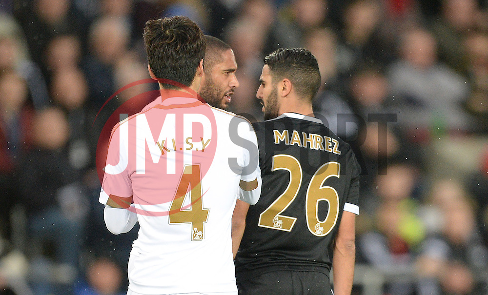 Things get heated between Ashley Williams of Swansea City and Riyad Mahrez of Leicester City - Mandatory byline: Alex James/JMP - 05/12/2015 - Football - Liberty Stadium - Swansea, Wales - Swansea City v Leicester City - Barclays Premier League