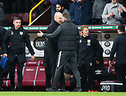 Peterborough United manager Darren Ferguson(right) and Burnley manager Sean Dyche greet each other at the end of the match during the The FA Cup match between Burnley and Peterborough United at Turf Moor, Burnley, England on 4 January 2020.
