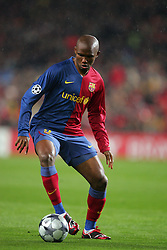Samuel Eto'o of Barcelona runs with the ball during the UEFA Champions League quarter final first leg match between FC Barcelona and FC Bayern Munich at the Camp Nou stadium on April 8, 2009 in Barcelona, Spain.