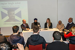 "Pictured: Martin Docherty-Hughes, SNP, MSP for West Dumbartonshire, Gurpreet Singh Johal, Jaggi's brother, Josie Fathers, Advocate Office for REDRESS, Palbinder Kaur, Jaggi's grandmother and Jasbir Singh Johal, Jaggi's father<br /> <br /> This week marks 100 days since the arrest of Jagtar Singh Johal, a Scottish Sikh from Dumbarton who has been held by Indian police without charge since 4 November 2017.  The arrest came two weeks after Jagtar, also known as 'Jaggi"" travelled to india from Scotland for his wedding.<br /> <br /> <br /> Ger Harley 