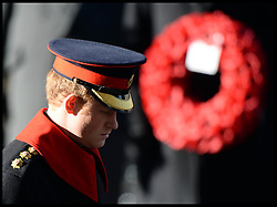 Prince Harry attends  the annual Remembrance Sunday Service at the Cenotaph, Whitehall, London, England. Sunday, 10th November 2013. Picture by Andrew Parsons / i-Images