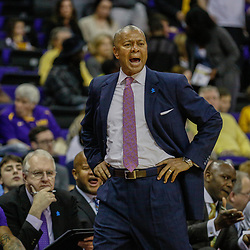 Feb 4, 2017; Baton Rouge, LA, USA; LSU Tigers head coach Johnny Jones against the Texas A&M Aggies during the first half at the Pete Maravich Assembly Center. Mandatory Credit: Derick E. Hingle-USA TODAY Sports