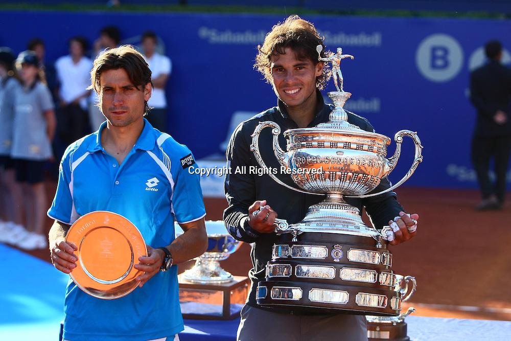 29.04.2012 Barelona, Spain. ATP Barcelona Open Banc Sabadell Final. Rafael Nadal beat David Ferrer 7-6 7-5. Picture show David Ferrer and Rafa Nadal