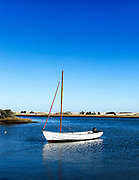 Sailboat  in Cape Poge Bay, Cappaquiddick, Martha's Vineyard, Massachusetts, USA.