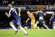 Bradford City midfielder Nicky Law (4) holding off Southend United defender Ryan Leonard (18) during the EFL Sky Bet League 1 match between Southend United and Bradford City at Roots Hall, Southend, England on 19 November 2016. Photo by Matthew Redman.