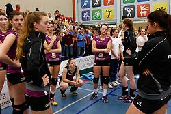 20150425 NED: Eredivisie VC Sneek - Eurosped, Sneek<br />Teleurstelling bij speelsters Eurosped<br />©2015-FotoHoogendoorn.nl / Pim Waslander