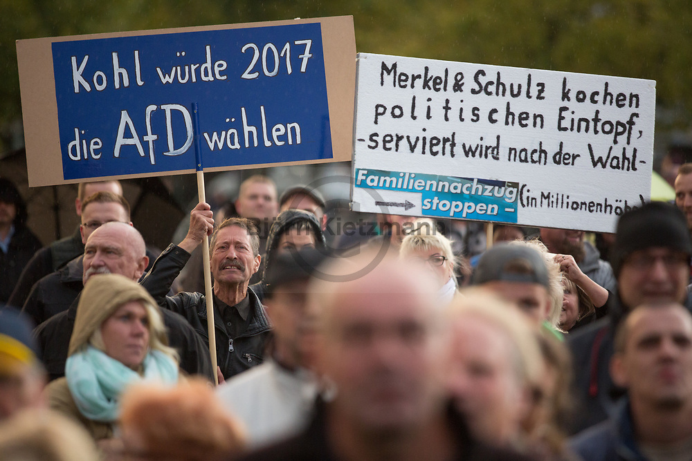 Magdeburg, Germany - 12.09.2017<br /> <br /> Election rally of the far rightwing Alternative for Germany (AfD) in Magdeburg.<br /> <br /> <br /> Wahlkampfkundgebung der Alternative fuer Deutschland (AfD) in Magdeburg.<br /> <br /> Photo: Bjoern Kietzmann