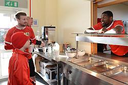 Connor gets to meet his favourite player Bristol City's Jay Emmanuel-Thomas before breakfast - Photo mandatory by-line: Dougie Allward/JMP - Mobile: 07966 386802 - 01/04/2015 - SPORT - Football - Bristol - Bristol City Training Ground - HR Owen and SAM FM