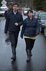 Ed Miliband with Victoria Groulef Labour candidate for Reading West when he   visited  floods in Purley on Thames, Reading, United Kingdom,Tuesday, 11th February 2014. Picture by i-Images
