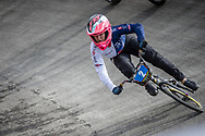 #2 during practice at the 2018 UCI BMX World Championships in Baku, Azerbaijan.