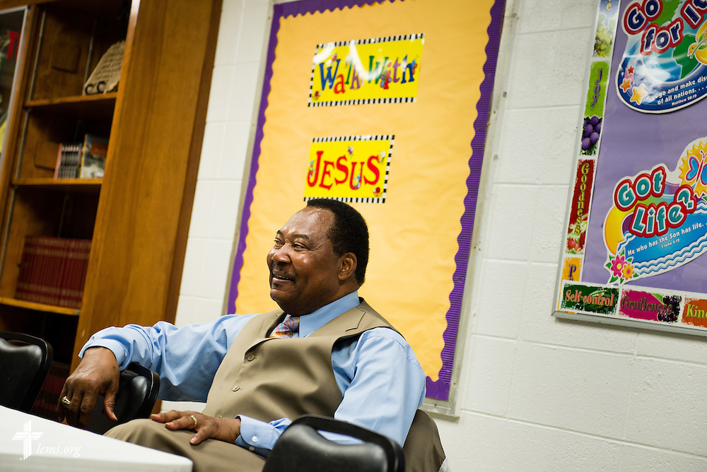 The Rev. Ulmer Marshall listens to a meeting following bible study at Trinity Lutheran Church on Sunday, April 6, 2014, in Mobile, Ala. LCMS Communications/Erik M. Lunsford