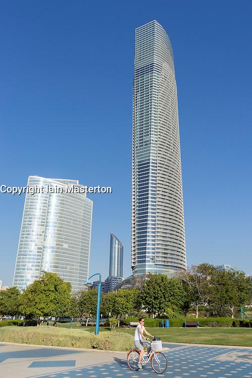 ADIA building and Landmark tower on Corniche in Abu Dhabi United Arab emirates