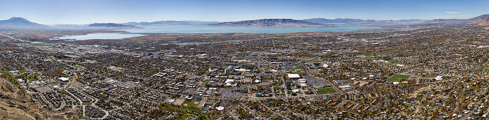 Multi-image aerial panoramic of BYU and Provo