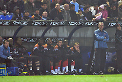 Bolton, England - Wednesday, January 31, 2007: Charlton Athletic's China International player Zheng Zhi watches from the sidelines as manager Alan Pardew looks on against Bolton Wanderers during the Premiership match at the Reebok Stadium. (Pic by David Rawcliffe/Propaganda)