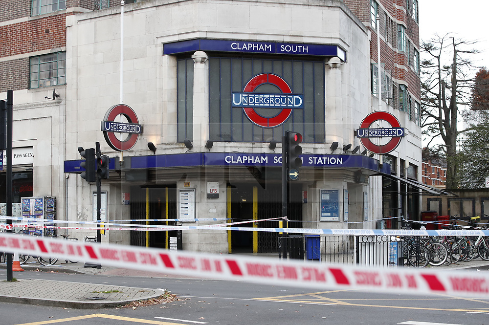 © Licensed to London News Pictures. 03/11/2018. London, UK.  A police cordon remains in place at Clapham South Underground station after a  17 year old was stabbed on Friday evening. The victim died of his wounds. The attack came 24 hours after a 15 year old boy was fatally stabbed in Lewisham. Photo credit: Peter Macdiarmid/LNP