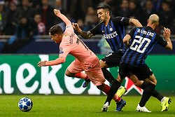 November 7, 2018 - Milan, Italy - Borja Valero (R) and Matias Vecino of Inter Milan vie for the ball with Philippe Coutinho of Barcelona during the Group B match of the UEFA Champions League between FC Internazionale and FC Barcelona on November 6, 2018 at San Siro Stadium in Milan, Italy. (Credit Image: © Mike Kireev/NurPhoto via ZUMA Press)