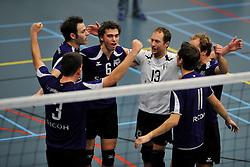 18-02-2012 VOLLEYBAL: TAUW GEMINI S - VOCASA: HILVERSUM<br /> B League heren, VoCASA wint vrij eenvoudig in Hilversum 22-25, 20-25, 22-25 / (L-R) Erik Groenen, Arjan Roelofs, Torsten Slot, Tim Konings<br /> ©2012-FotoHoogendoorn.nl