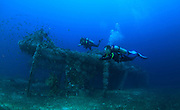 Divers swim past  the alma jane wreck in Puerto Galera, the Philippines