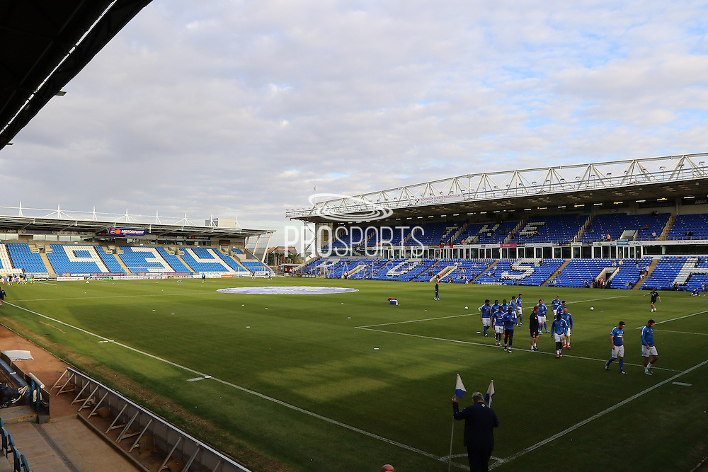 View of the ABAX stadium prior the EFL Cup match between Peterborough United and AFC Wimbledon at ABAX Stadium, Peterborough, England on 9 August 2016. Photo by Stuart Butcher.