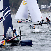 NEWPORT, RHODE ISLAND- OCTOBER 22:  The Turkish team of Ibrahim Balanli and Yasar Doga Aribas in action during the Red Bull Foiling Generation World Final 2016 on October 22, 2016 in Narragansett Bay, Newport, Rhode Island. (Photo by Tim Clayton/Corbis via Getty Images)
