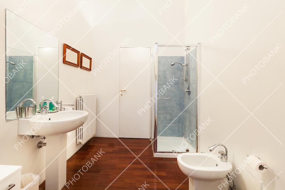 Interior hotel room,  bathroom, parquet floor