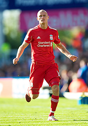BIRMINGHAM, ENGLAND - Sunday, September 12, 2010: Liverpool's Paul Konchesky in action against Birmingham City on his debut during the Premiership match at St Andrews. (Photo by David Rawcliffe/Propaganda)