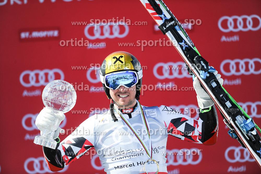 19.03.2016, Engiadina, St. Moritz, SUI, FIS Weltcup Ski Alpin, St. Moritz, Riesentorlauf, Herren, im Bild Marcel Hirscher (AUT) Gesamtweltcup Sieger und RS WC Sieger // Marcel Hirscher of Austria (Winner Overall WC and Winner Giant Slalom WC) during men's Giant Slalom of St. Moritz Ski Alpine World Cup finals at the Engiadina in St. Moritz, Switzerland on 2016/03/19. EXPA Pictures © 2016, PhotoCredit: EXPA/ Erich Spiess