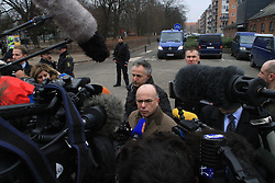 French Interior Minister Bernard Cazeneuve (C) speaks during an interview in front of at the cultural center Krudttoenden, where a man was killed and three police officer were wounded, in Copenhagen, Feb. 15, 2015. Copenhagen's police director Thorkild Fogde said at a press conference that the police have identified the alleged offender, who was killed by police early Sunday morning in the Noerrebro neighborhood in Copenhagen. EXPA Pictures © 2015, PhotoCredit: EXPA/ Photoshot/ Shi Shouhe<br /> <br /> *****ATTENTION - for AUT, SLO, CRO, SRB, BIH, MAZ only*****