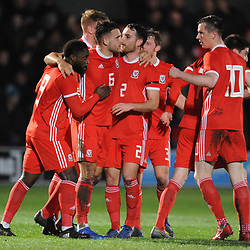 19/3/2019 - GOAL. Kayne McLaggon is congratulated after scoring during the C International between England and Wales at the Peninsula Stadium, Salford.<br /> <br /> Pic: Mike Sheridan/County Times<br /> MS023-2019