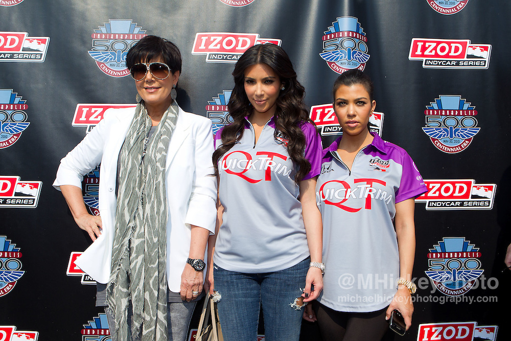 Kris Jenner, Kim Kardashian and Kourtney Kardashia seen at the Indianapolis Motor Speedway during Indy 500 weekend.<br /> Photo by Michael Hickey