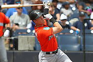 March 18, 2018 - Tampa, FL, U.S. - TAMPA, FL - MAR 18: Brian Anderson (15) of the Marlins at bat during the game between the Miami Marlins and the New York Yankees on March 18, 2018, at George M. Steinbrenner Field in Tampa, FL. (Photo by Cliff Welch/Icon Sportswire) (Credit Image: © Cliff Welch/Icon SMI via ZUMA Press)