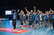 DK -  Copenhagen..20/04/12.The winning team..Handball, Champions League 1/4 final, AGK Copenhagen vs FC Barcelona..21.300 spectators (Danish record) are watching the game on the national Arena, Parken (the Park)..Photo: Johnny Wichmann / billedbyroet
