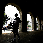 A member of the Boston Cannons walks under the stands prior to the game at Harvard Stadium on July 19, 2014 in Boston, Massachusetts. (Photo by Elan Kawesch)