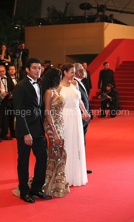 Bassem Samra, Nahed El Sebaï, Egyptian actress Menna Shalaby, Egyptian director Yousry Nasrallah,  arriving at the gala screening of the film Baad El Mawkeaa at the 65th Cannes Film Festival. Thursday 17th May 2012, the red carpet at Palais Des Festivals in Cannes, France.